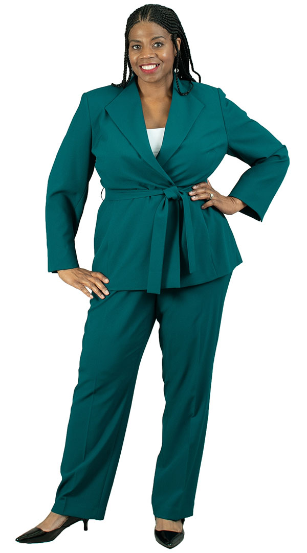 EMI-205364 Womens Two Piece Pant Suit With Diamond Lapel Jacket And Sash