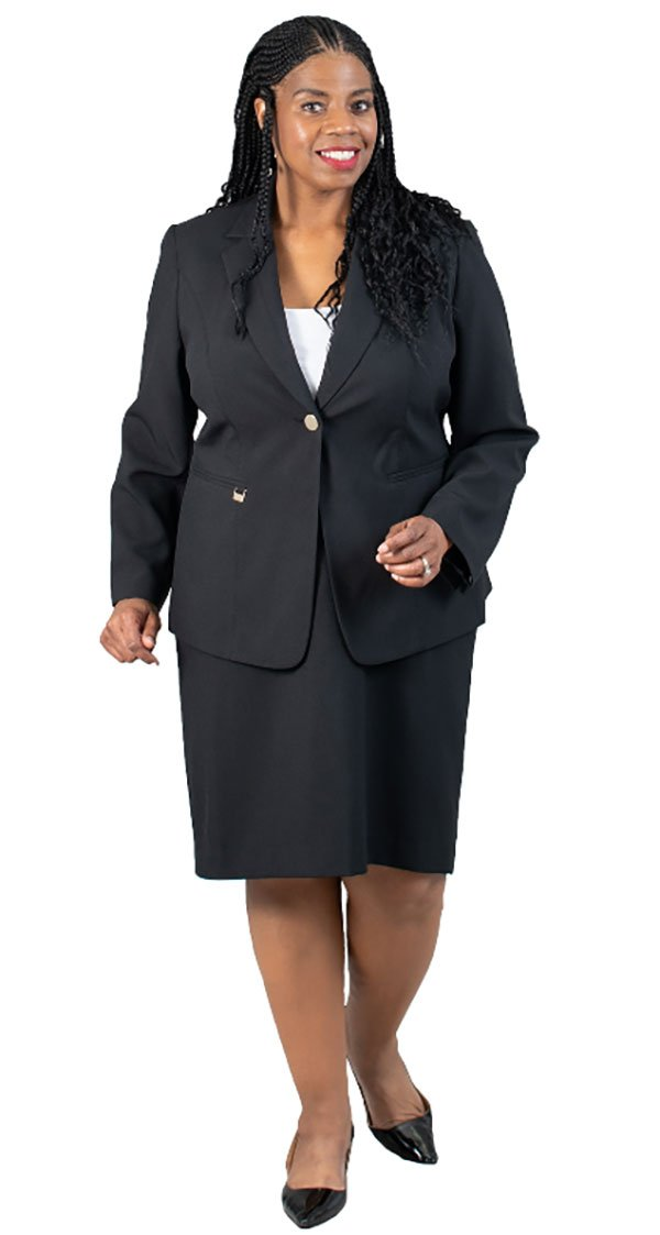 EMI-205435 Womens Two Piece Skirt Suit With Notch Lapel Jacket