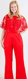 FTI-CH18050 - Womens Beaded Lace Popover Jumpsuit
