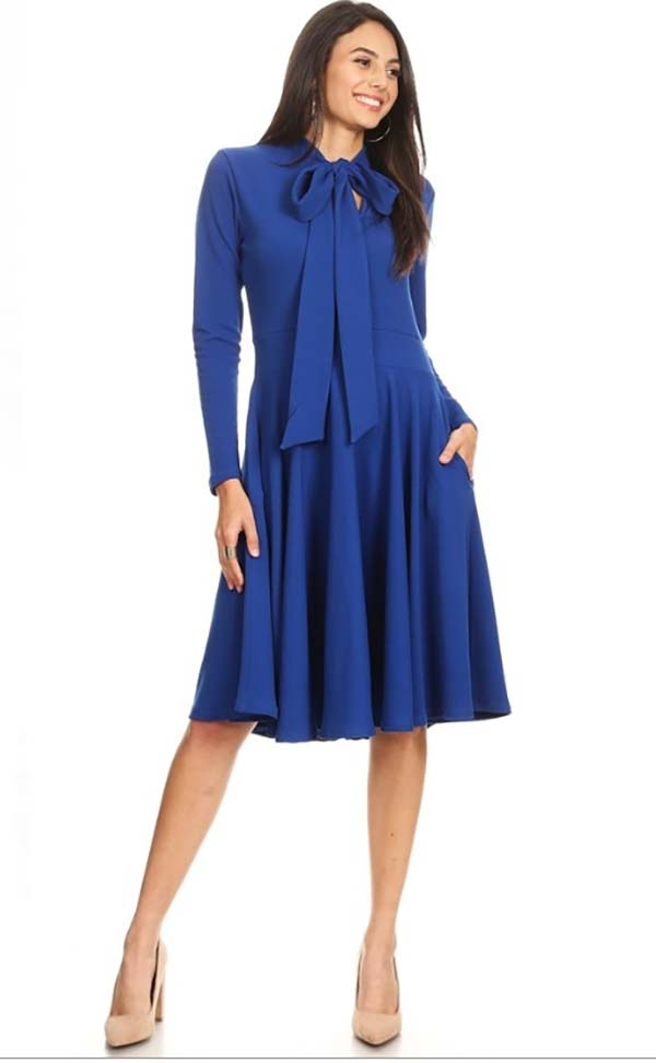 KAR-2051-Navy - Longsleeve Pleated Dress With Bow