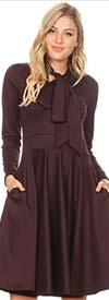 KAR-2051-Plum - Longsleeve Pleated Dress With Bow