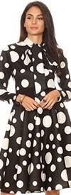 KAR-2051P-BlackWhite - Longsleeve Pleated Dress With Bow In Polka Dot Pattern