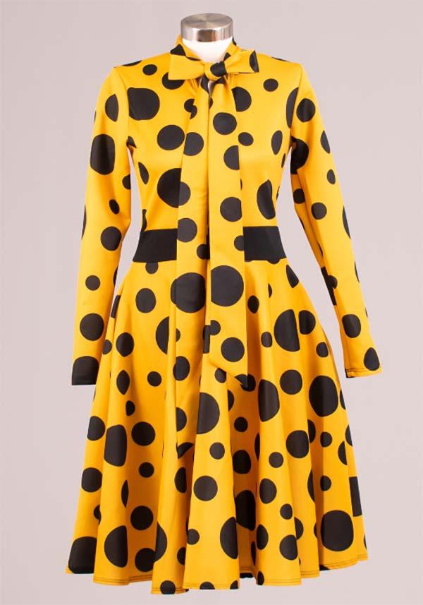 KAR-2051P-MustardBlack - Longsleeve Pleated Dress With Bow In Polka Dot Pattern