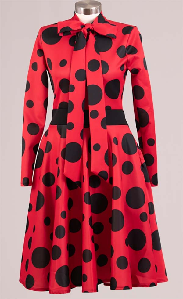 KAR-2051P-RedBlack - Longsleeve Pleated Dress With Bow In Polka Dot Pattern