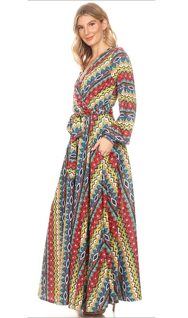 KAR-5095 - Long Sleeve Mock Wrap Maxi Dress In Multi Print Design