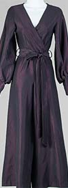KAR-6016 - Wide Leg Womens Jump Suit With Vee Neckline And Bishop Sleeves