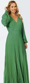 KAR-7006-Green - Floor Length Pleated Dress With Vee Neckline & Bishop Sleeves