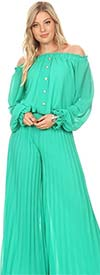 KAR-7007-Green - Womens Pleated Jumpsuit With Off the Shoulder Neckline
