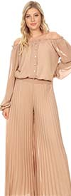 KAR-7007-Taupe - Womens Pleated Jumpsuit With Off the Shoulder Neckline
