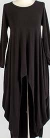 KAR-J897-Black - Longsleeve Womens High Low Knit Top