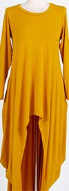KAR-J897-Mustard - Longsleeve Womens High Low Knit Top
