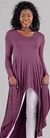 KAR-J897-Plum - Longsleeve Womens High Low Knit Top