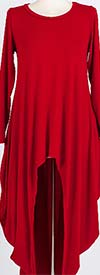 KAR-J897-Red - Longsleeve Womens High Low Knit Top