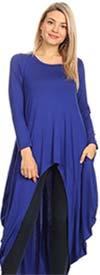 KAR-J897-Royal - Longsleeve Womens High Low Knit Top