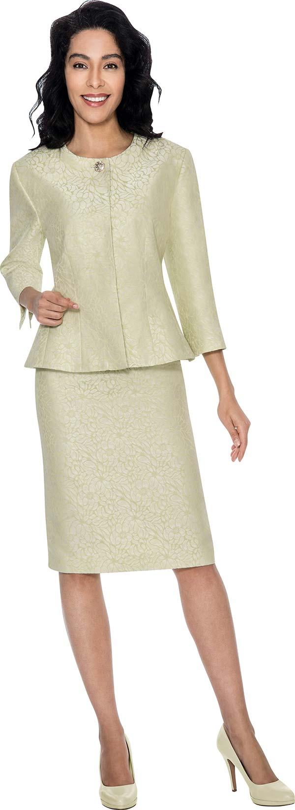 D.Vine 1138W - Ladies Two Piece Skirt Suit In Floral Texture Design