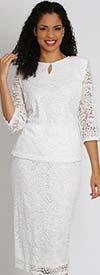 Ella Belle 8007 Two Piece Womens Lace Skirt Suit With Keyhole Neckline Jacket