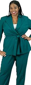 Emily-205364 Womens Pant Suit With Belted Diamond Lapel Wrap Jacket