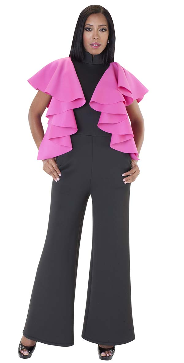 For Her 8644-BlackFuchsia - Ruffle Accented Scuba Fabric Jumpsuit With Stand-Up Collar