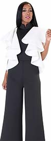 For Her 8644-BlackOffWhite - Ruffle Accented Scuba Fabric Jumpsuit With Stand-Up Collar