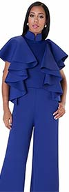 For Her 8644-Royal - Ruffle Accented Scuba Fabric Jumpsuit With Stand-Up Collar