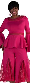 For Her 8691-Fuchsia - Womens Mesh Godet Pant Set With Flounce Sleeve Peplum Top