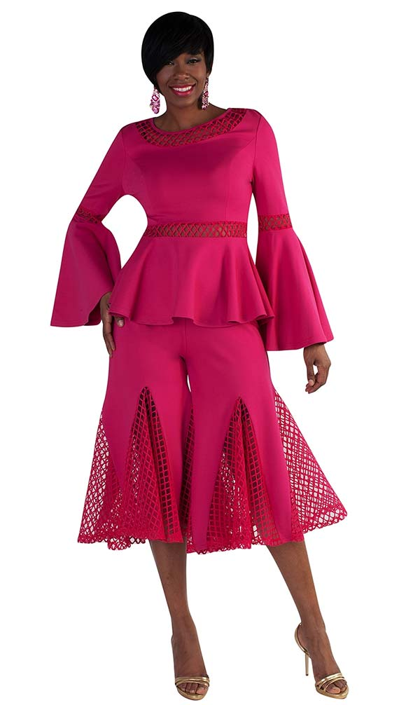 For Her 8691-Fuchsia - Womens Mesh Godet Pant Set With Flounce Sleeve Peplum Top