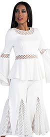 For Her 8691-OffWhite- Womens Mesh Godet Pant Set With Flounce Sleeve Peplum Top