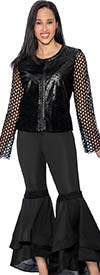 Rose Collection 102 Womens Flounce Cuff Pant Set With Net Sleeve Faux Leather Jacket