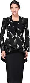 Serafina 3427 Two Piece Womens Skirt Suit With Printed Peplum Jacket