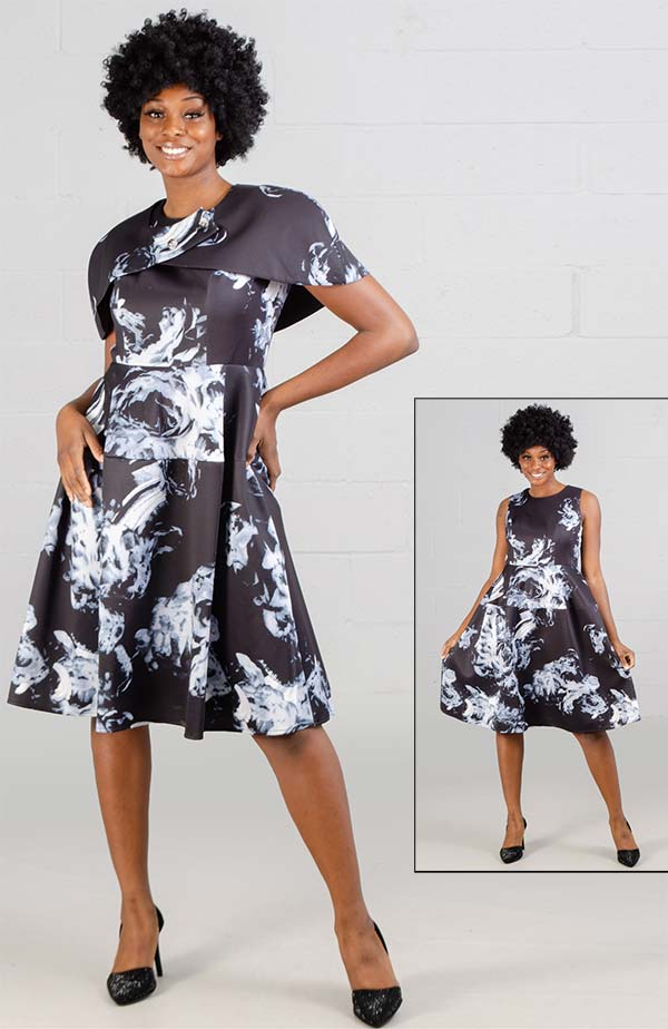 Tally Taylor 4563 - Grey Multi-Tone Print Dress With Capelet