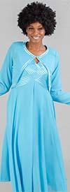 Tally Taylor 9304-Caribbean Sea - Womens Satin Trim Jacket & Sleeveless Dress Set
