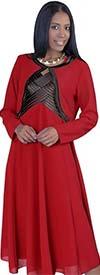 Tally Taylor 9304-RedBlack - Womens Satin Trim Jacket & Sleeveless Dress Set