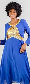 Tally Taylor 9304-RoyalGold - Womens Satin Trim Bolero Jacket & Sleeveless Dress Set