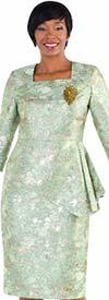 Tally Taylor 4616-Green - One Piece Metallic Print Dress With Asymmetrical Ruffled Design