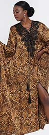 Why Dress D180913 - One Piece Womens Lace Trimmed Caftan In Leopard Print Design