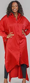 KaraChic CHH21028-Red - Womens Trench-Back Style Button-Front Duster With Grommets