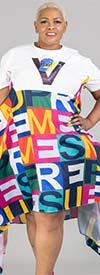 N By Nancy A2105 - Short Sleeve Multi-Color Letter Print Dress