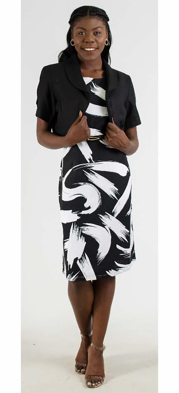 LIN-4515-BlackWhite Womens Dress With Bolero Style Jacket