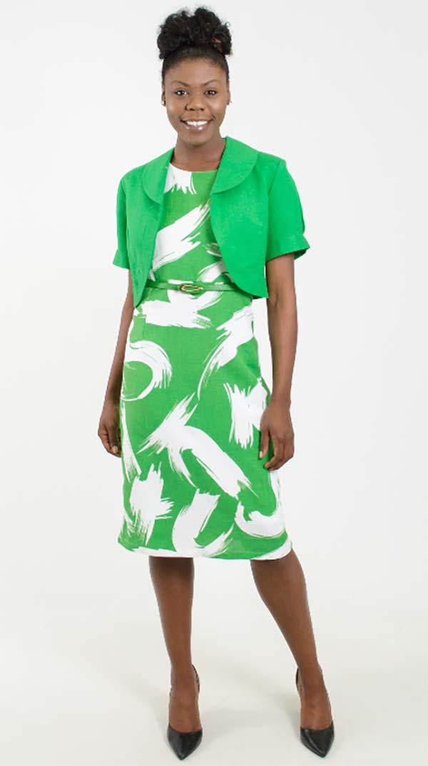 LIN-4515-EmeraldWhite Womens Dress With Bolero Style Jacket