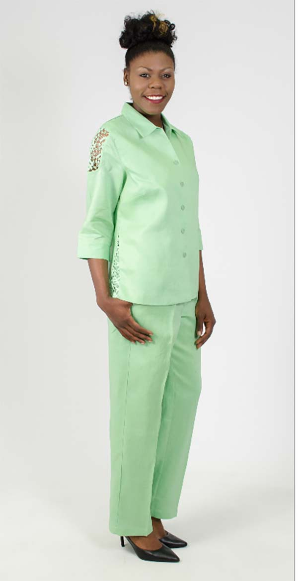 LIN-4583 Womens Pant Suit With Cut-Out Sleeve Detail