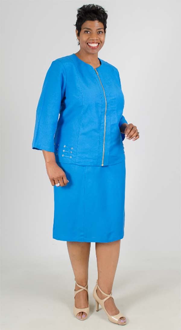 LIN-4712-Turquoise Womens Two Piece Skirt Suit