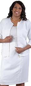 LIN-4712-White - Womens Two Piece Skirt Suit