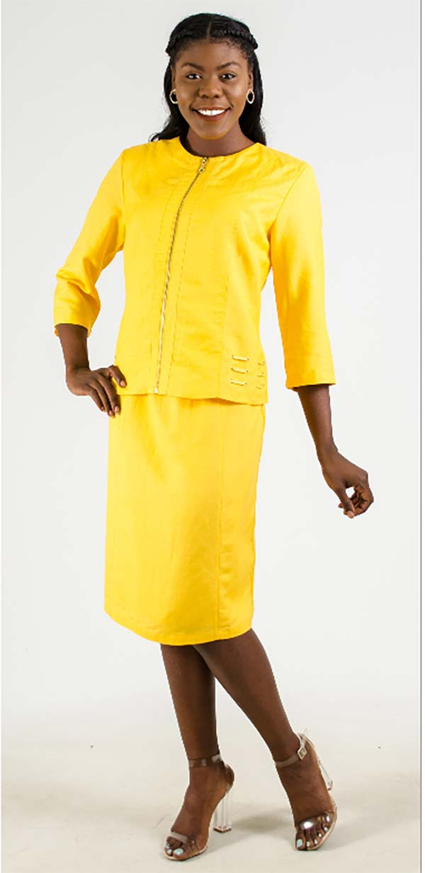 LIN-4712-Yellow Womens Two Piece Skirt Suit