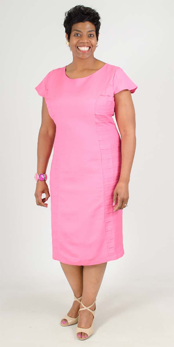 LIN-4724-Pink - Cap Sleeve Dress With Layered Inset Detail