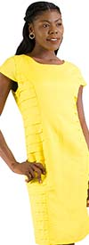 LIN-4724-Yellow - Cap Sleeve Dress With Layered Inset Detail