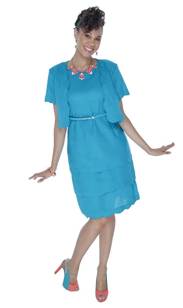 LIN-4728-Turquoise Womens Scallop Trim Dress With Bolero Style Jacket
