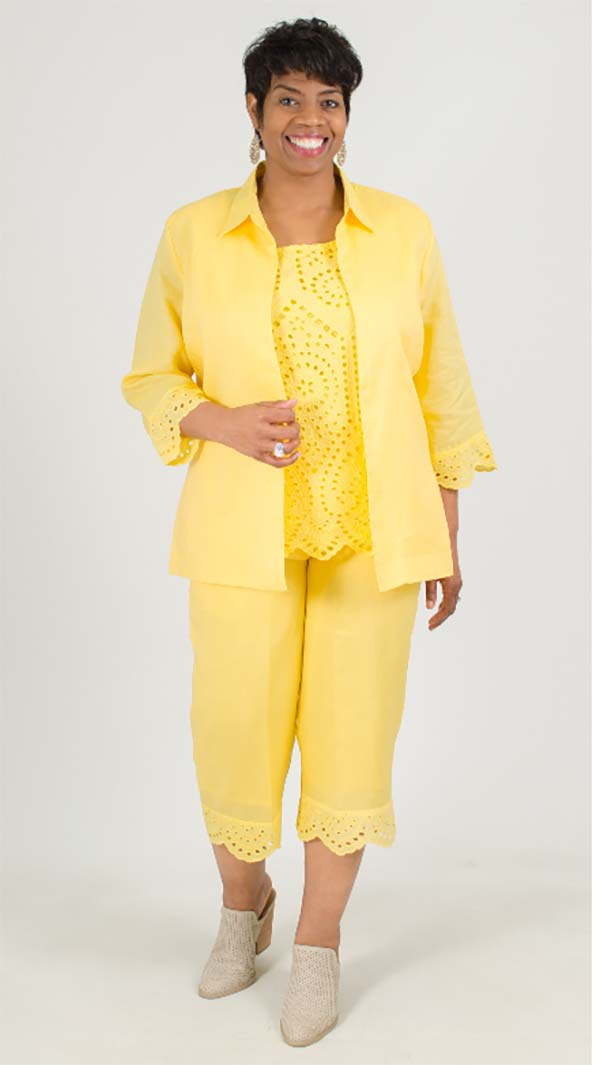 LIN-4808-Banana - Womens Three Piece Linen Pant Suit With Cut-Out Design