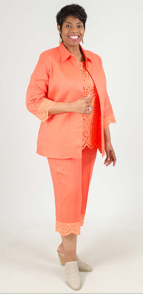LIN-4808-Salmon - Womens Three Piece Linen Pant Suit With Cut-Out Design