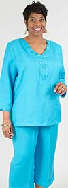 LIN-4833-Aqua - Womens Two Piece Pant Suit With Laced Grommet Detail