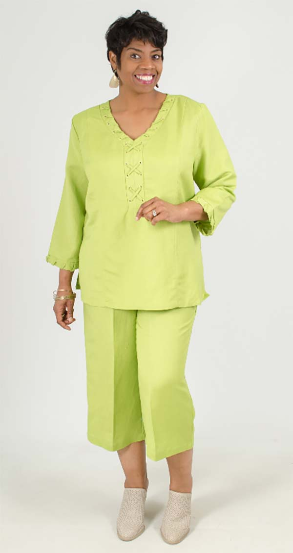 LIN-4833-Green - Womens Two Piece Pant Suit With Laced Grommet Detail